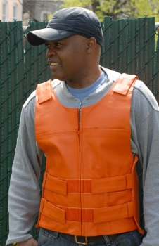 Bullet Proof Style Orange Zippered Motorcycle Vest